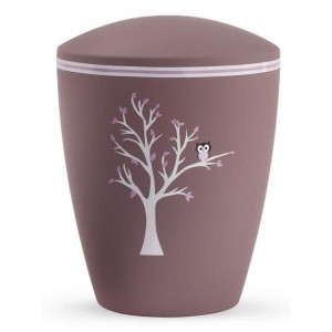 Biodegradable Cremation Ashes Urn (Infant / Child / Girl) – Dark Pink with Tree Illustration